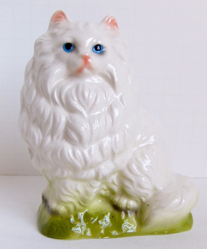 White Persian Cat Standing in the Grass. Ceramic, Japan