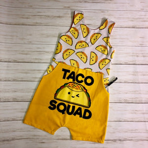 Taco Squad Pocketed Romper Size 7/8/9