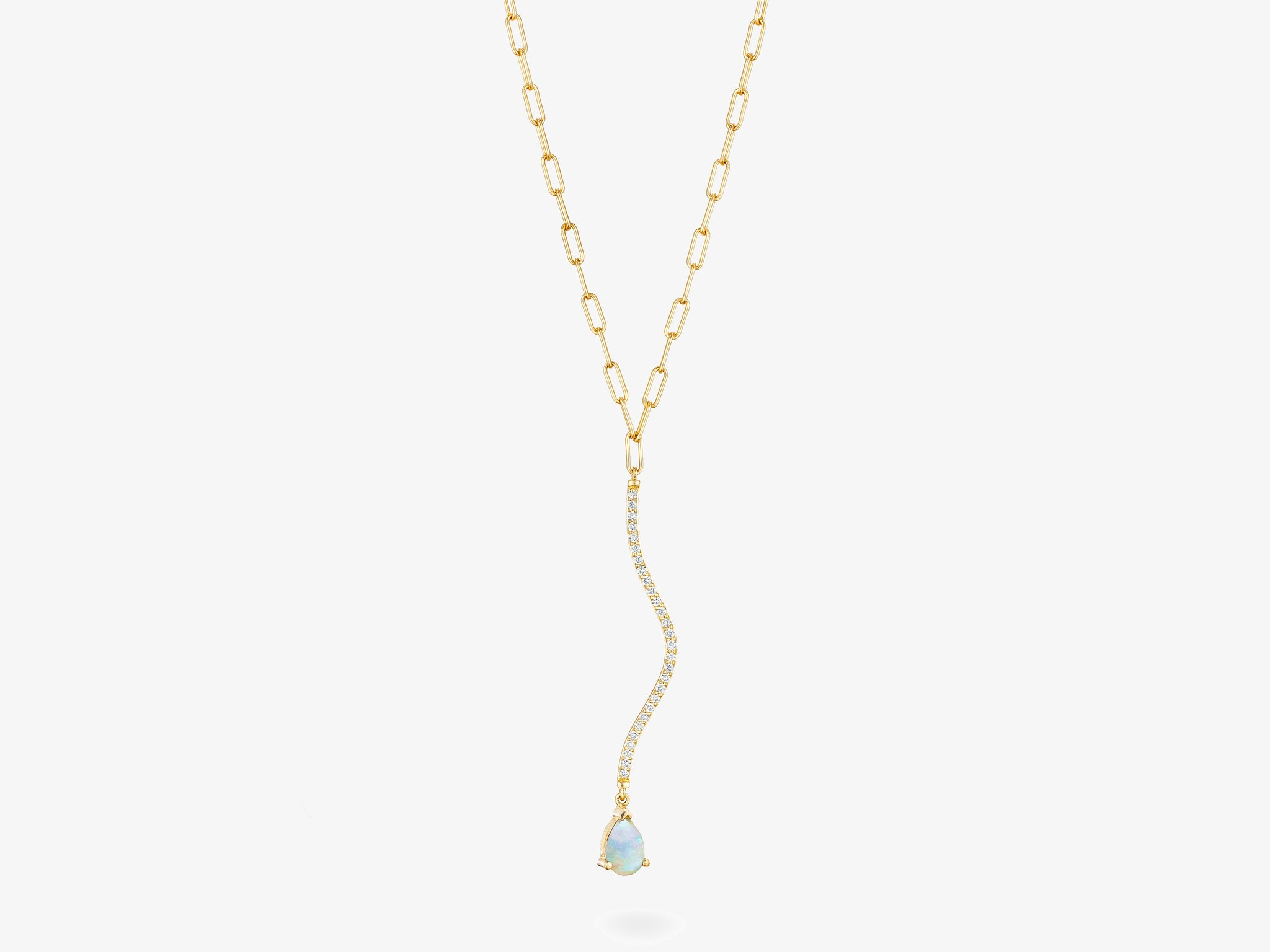 Curved Diamond Pave Bar Necklace with Pear Shaped Gemstone
