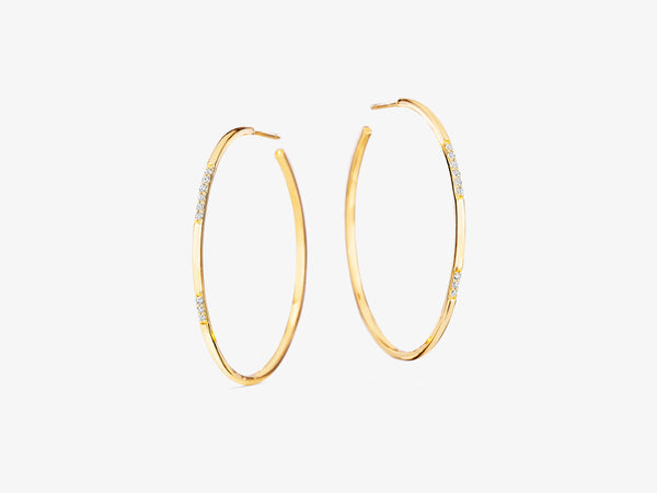 Sans Pavé Medium Circle Hoop with Sprinkle of Diamonds