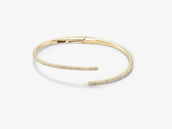 Delicate Line-Hinged Bracelet with Diamond Pavé