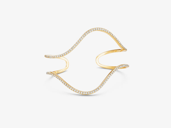 Open Wide Wavy Diamond Gold Cuff Bracelet