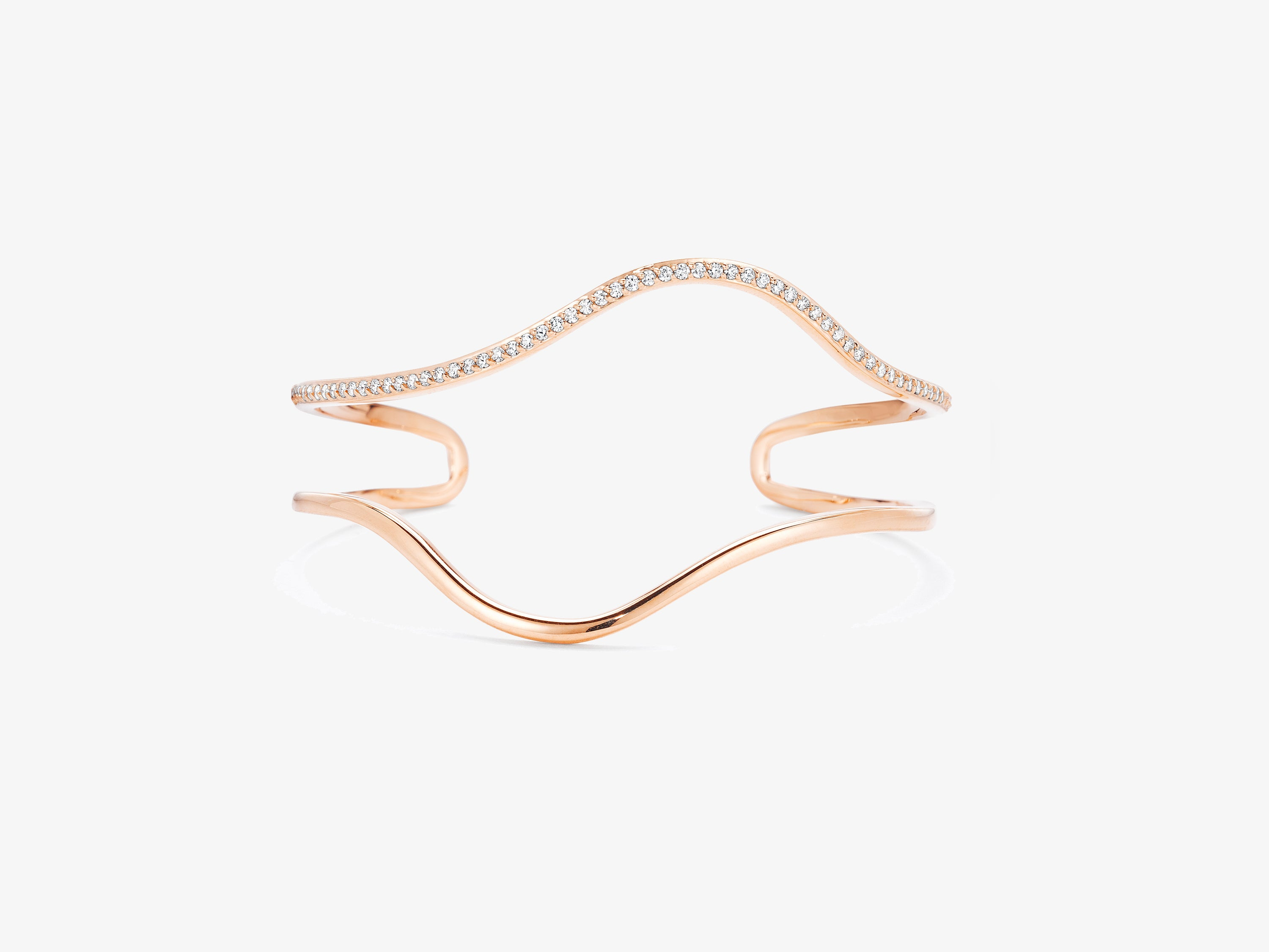 Flou Open Wide Wavy Cuff with One Row of Diamond Pave