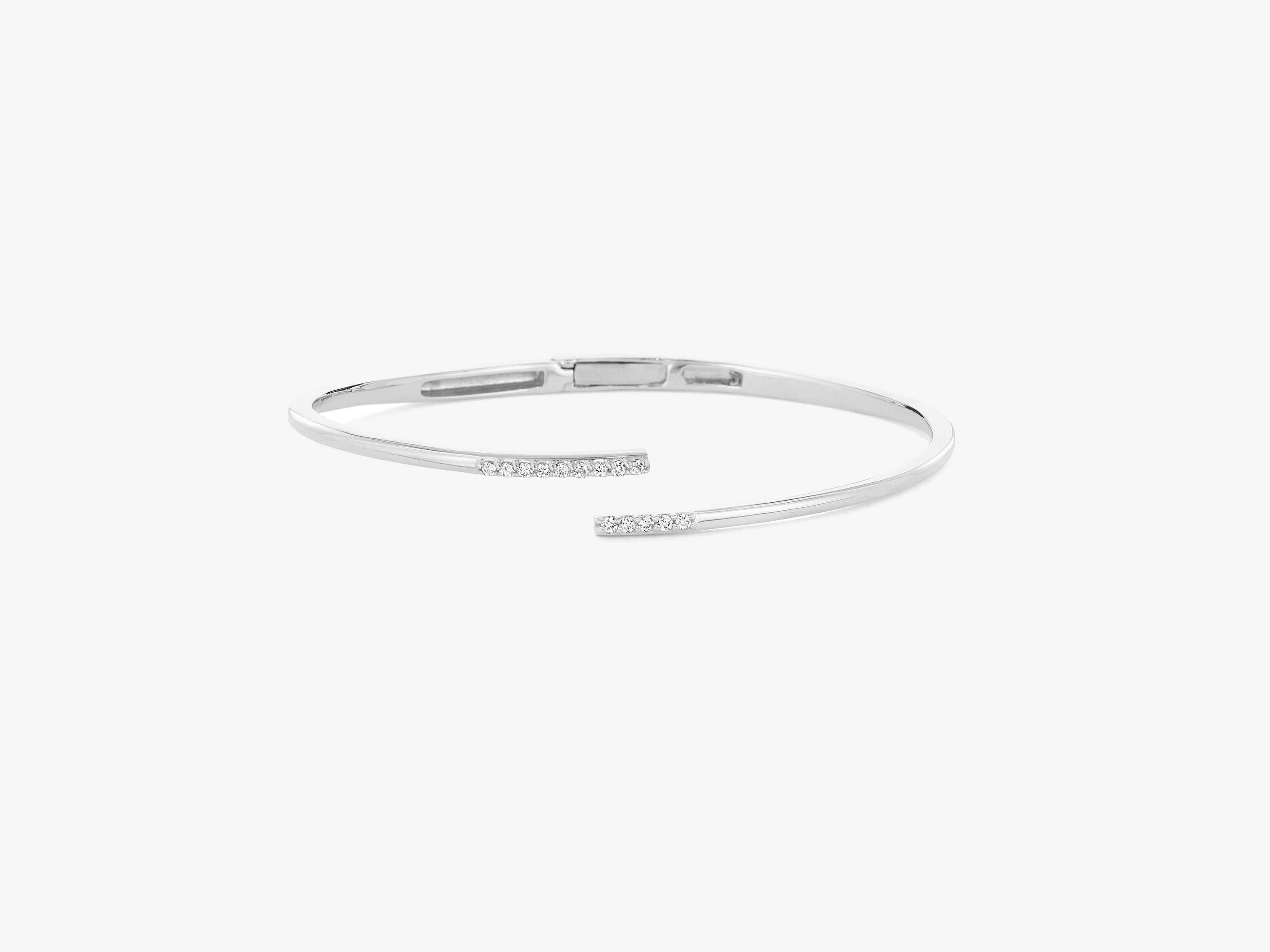 Sans Pave Hinged Bracelet with Sprinkle of Diamond Pave