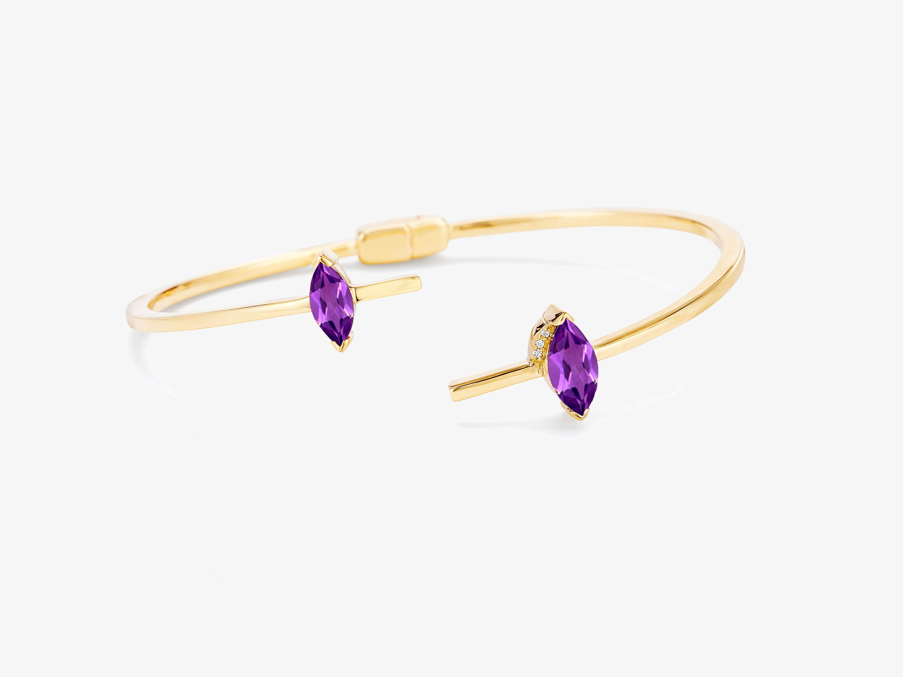 Asymmetrical Hinged Bangle with Marquise Shaped Stone Detail