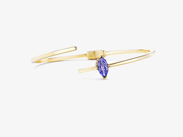 Asymmetrical Hinged Bangle with Marquise Shaped Stone Details