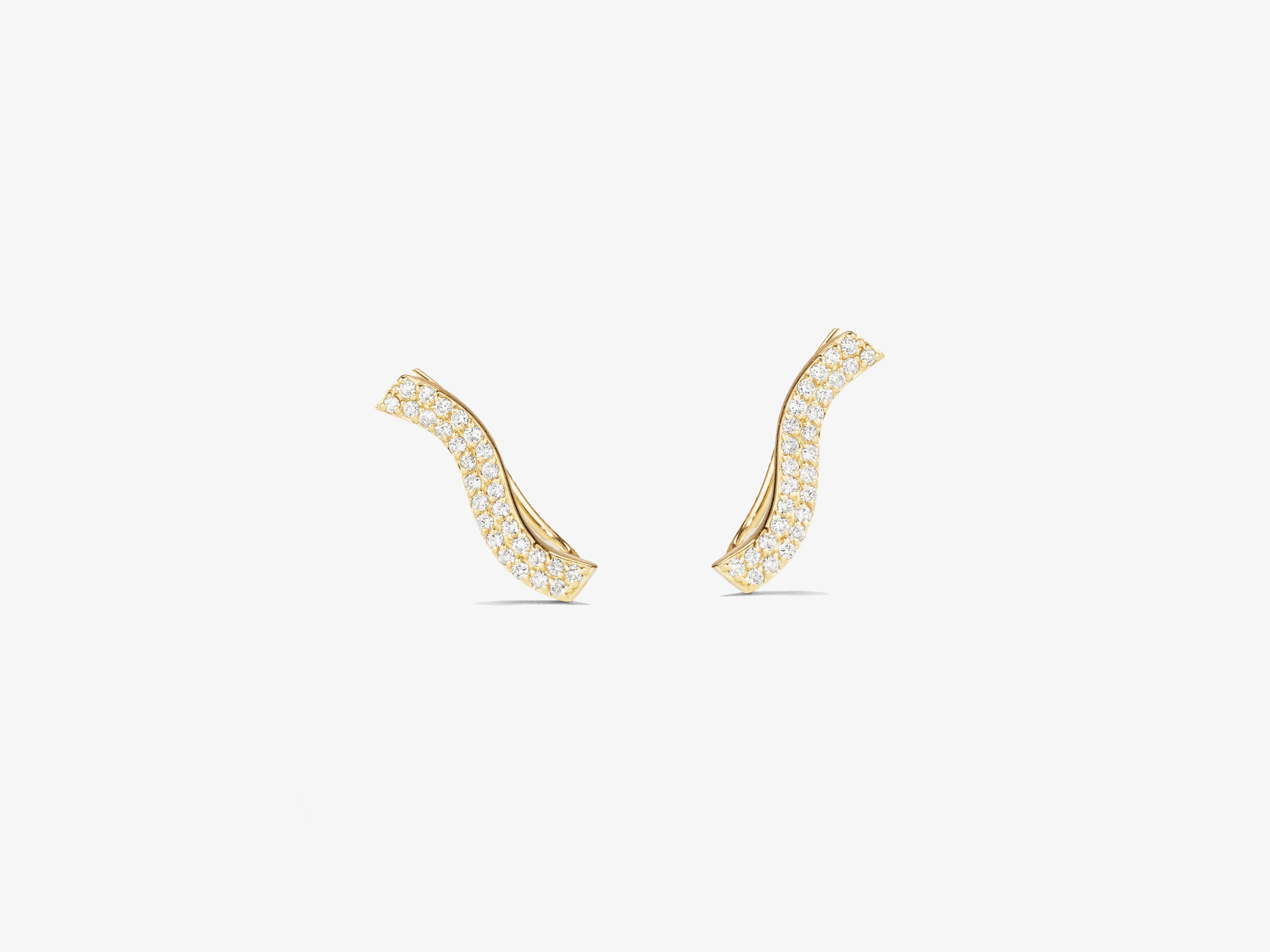 Infinity Curved Double Line Diamond Pave Ear Climber (Pair)