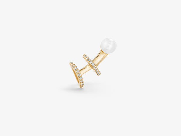 3 Station Pearl and Diamond Pavé Ear Climber
