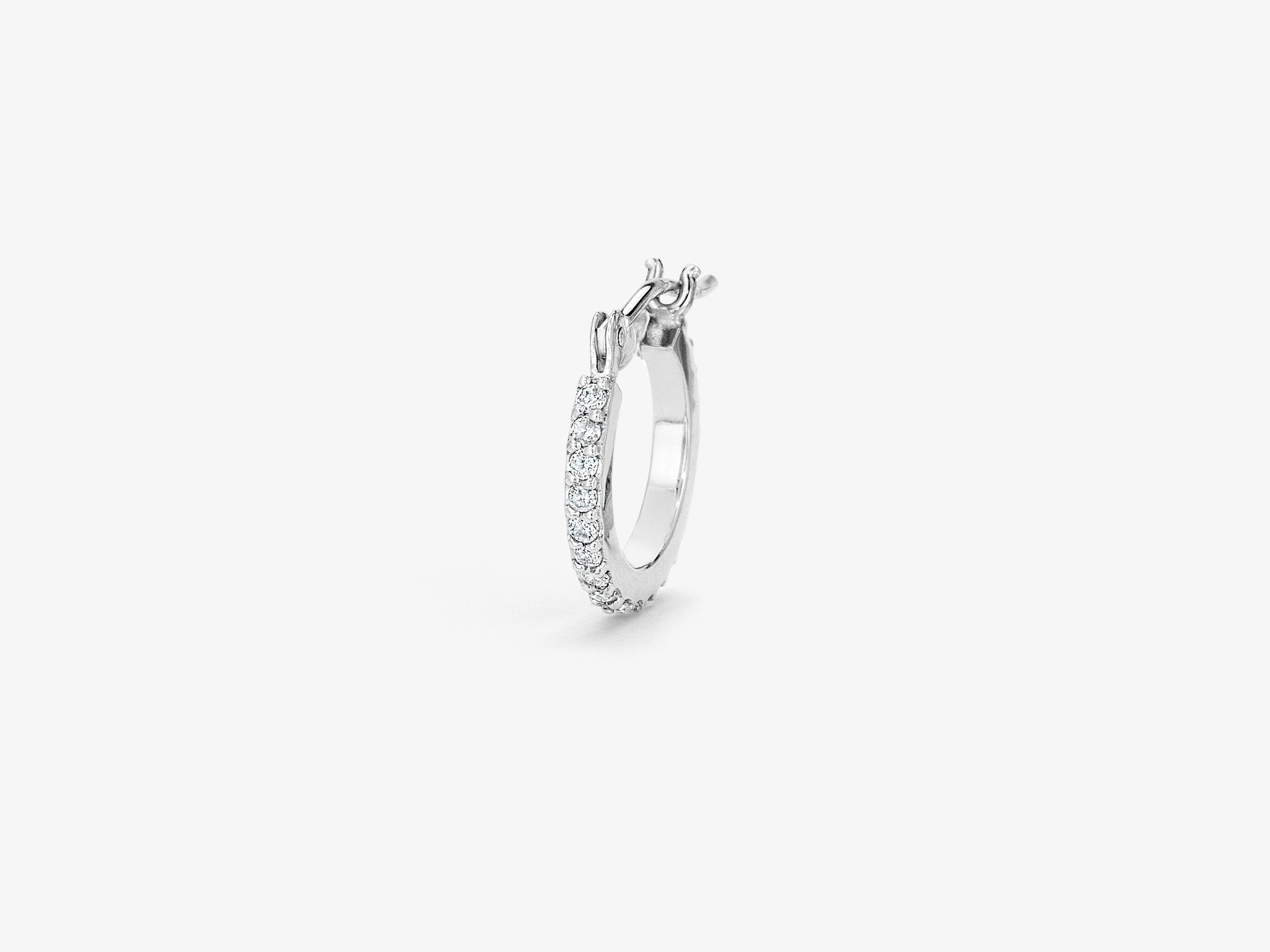 Small Pavé Single Hoop Earring