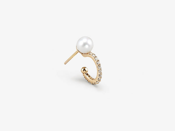 Pearl Single Huggie with Diamond Pavé