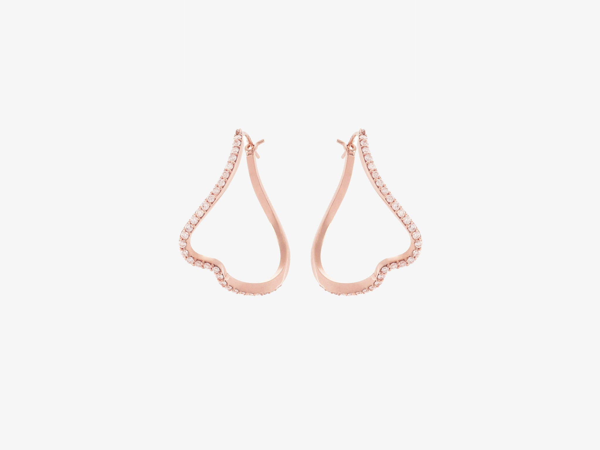 Curved Diamond Pavé Hoop Earrings