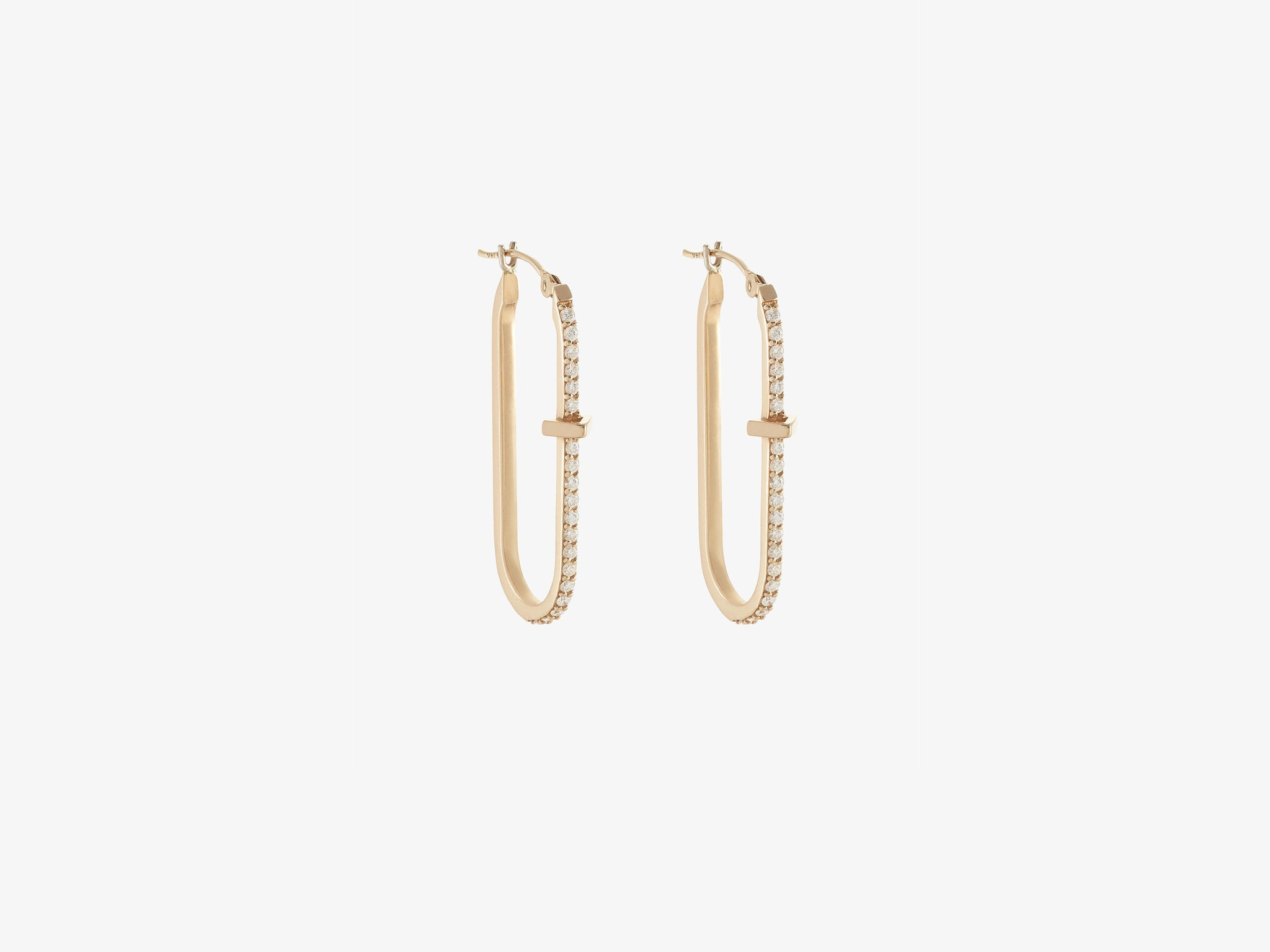 Diamond Pavé Oval Hoop Earrings with Triangle Station