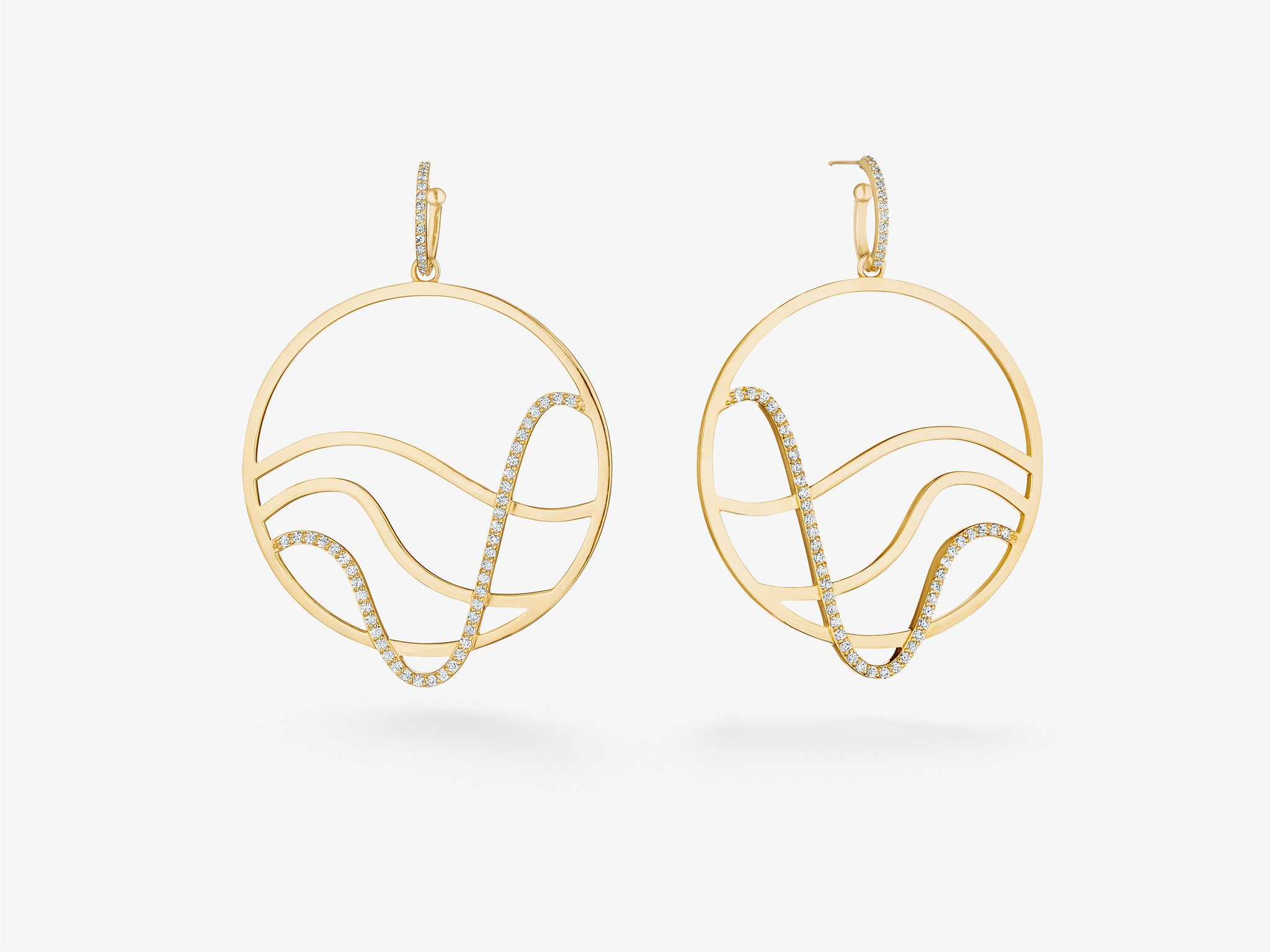 Open Hoop Earrings with Curved Lines and Single Row Diamond Pavé Detail