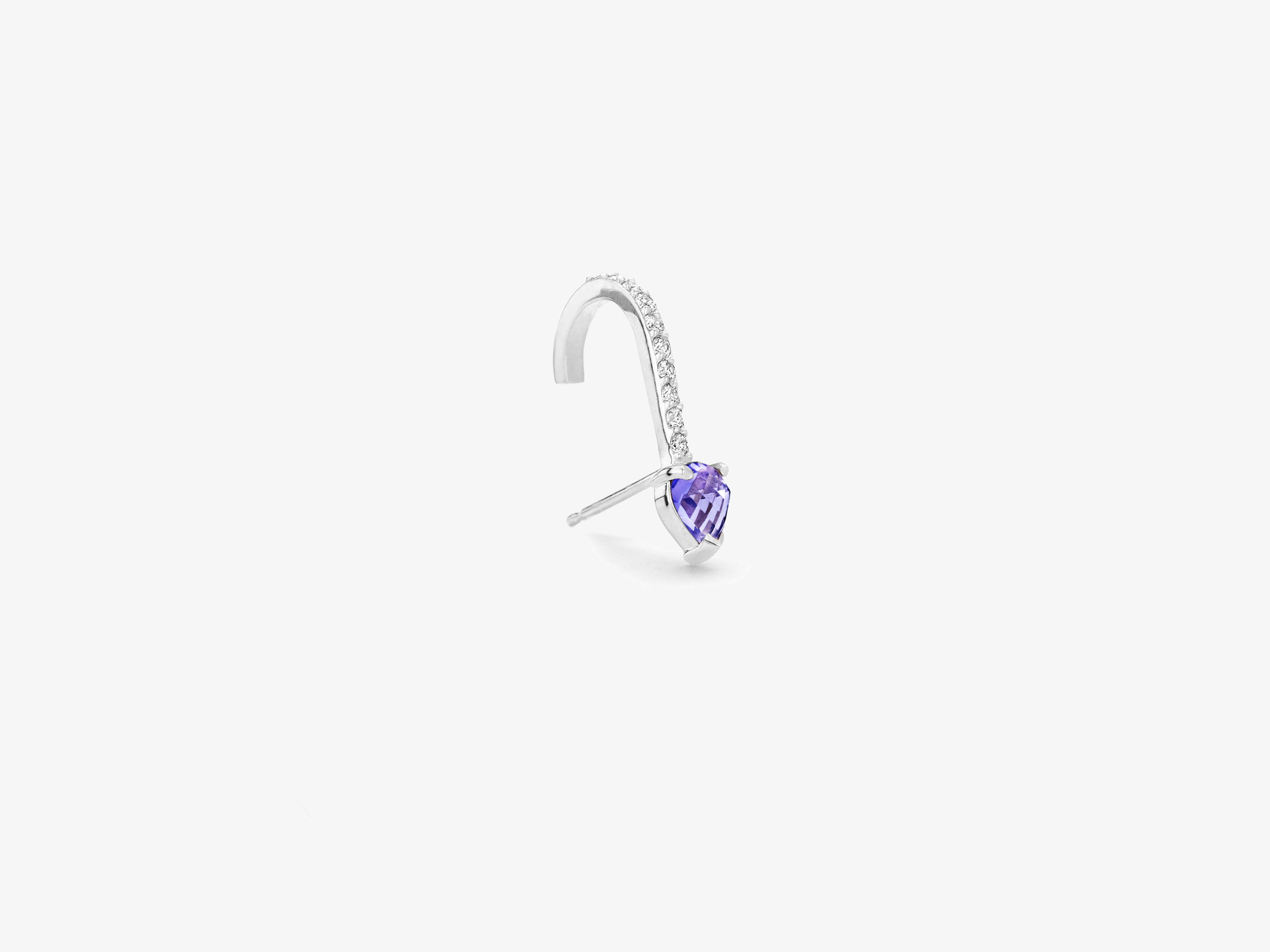 Single Diamond Pavé Suspender Earring with Rose Cut Sapphire