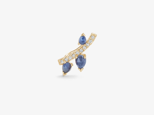 Single Diamond Pavé Line Ear Climber with Rose cut Sapphires