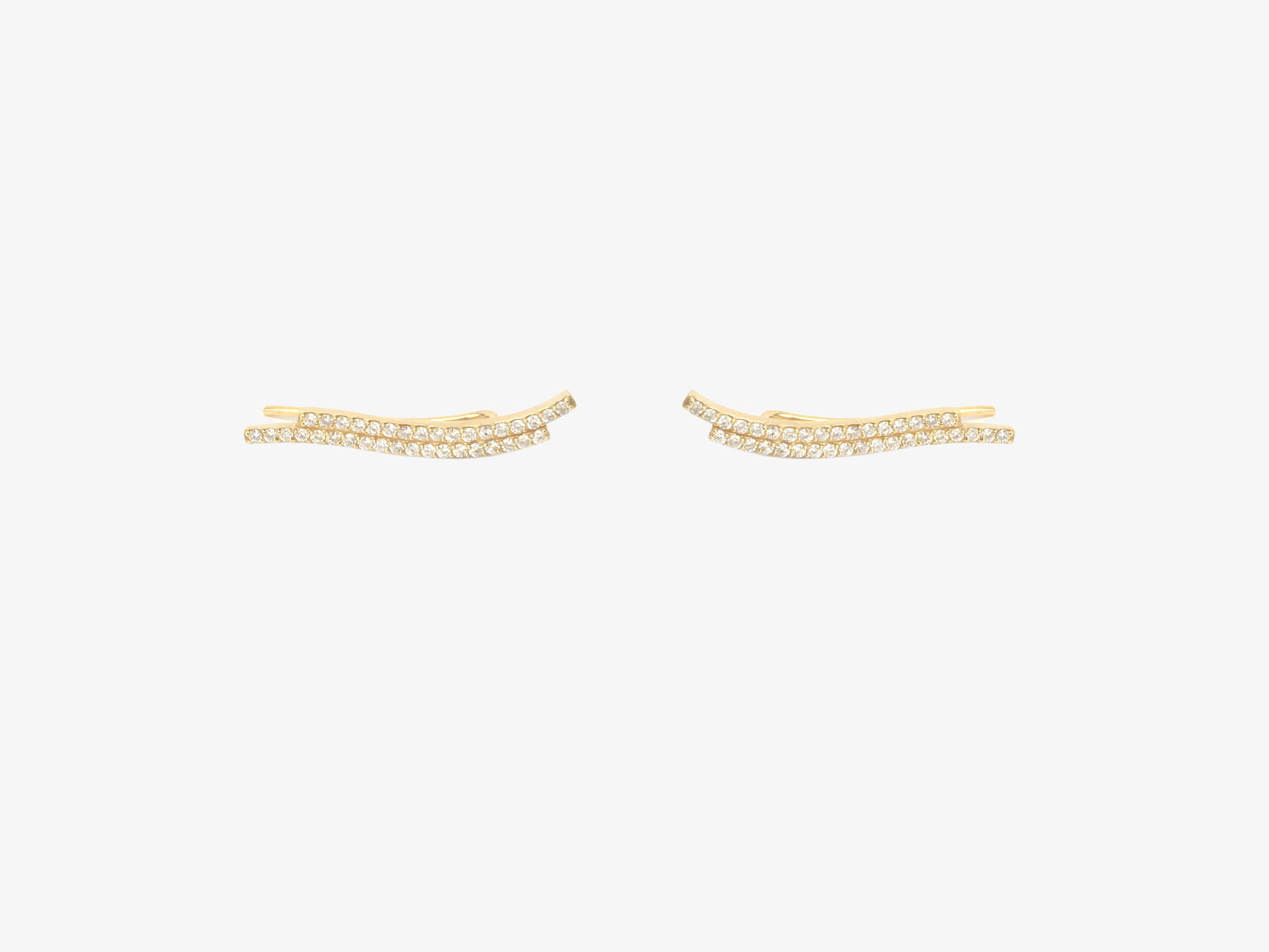 Infinity Curved Double Line Diamond Pave Ear Climber (Set)