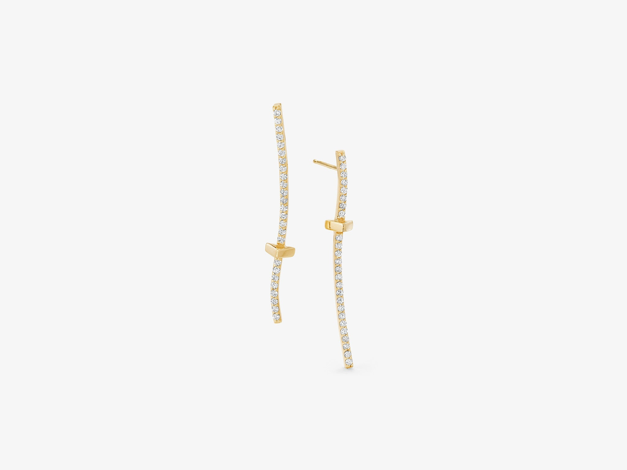 Curved Diamond Pave Bar Earrings with Triangle Stations