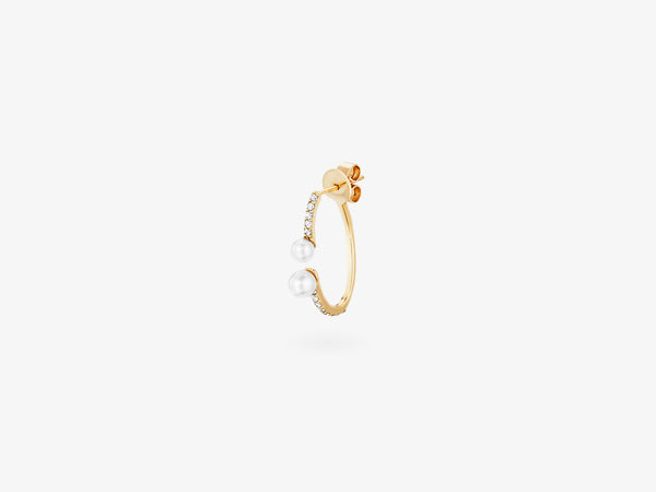 Mini Open Two Part Hoop Single Earring with Diamond Pave and Pearl Details