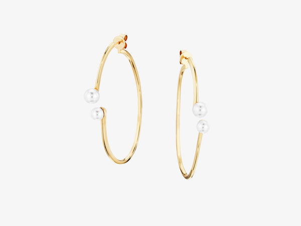 Open Oval Two Part Hoop Earrings with Pearl Details
