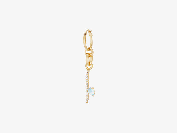 Mini Interchangeable Earring with Diamond Pave Bar and Rose Cut Stone Detail