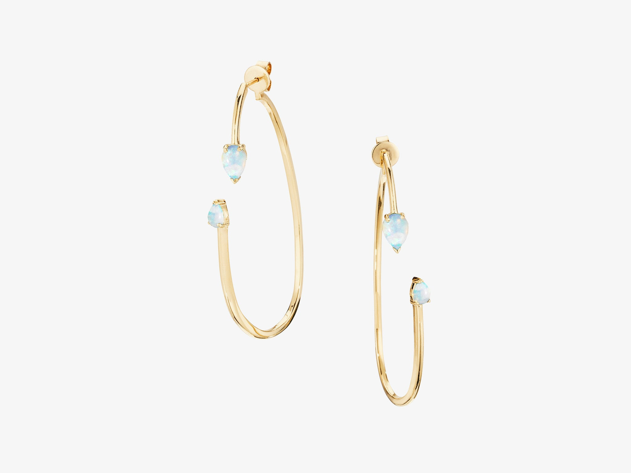 Open Oval Two Part Hoop Earrings with Rose Cut Stone Details