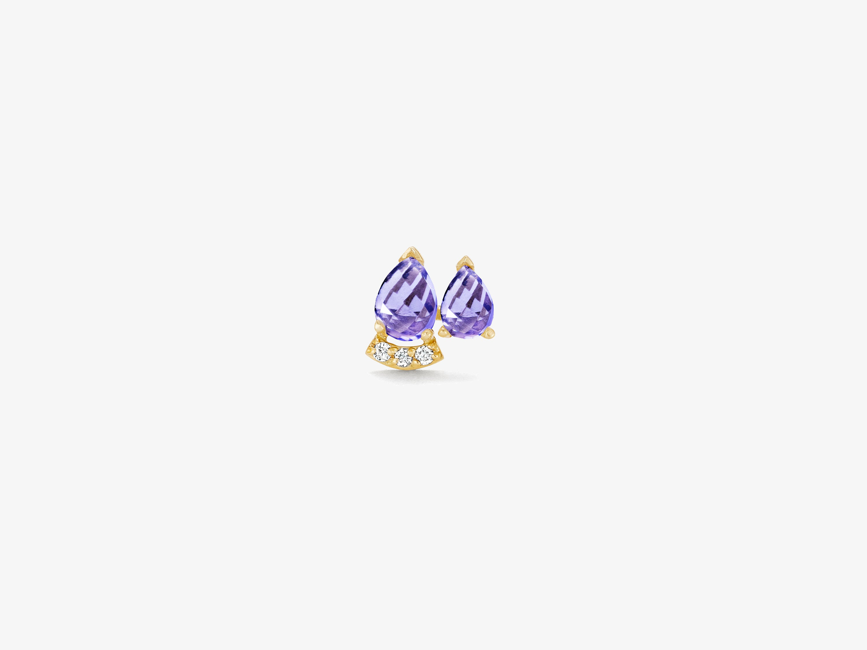 Double Rose Cut Stone Stud with Curved Diamond Pave Bar