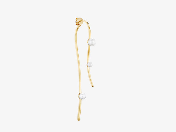 Flou Sculptural Two Part Curved Earring with Pearl Details