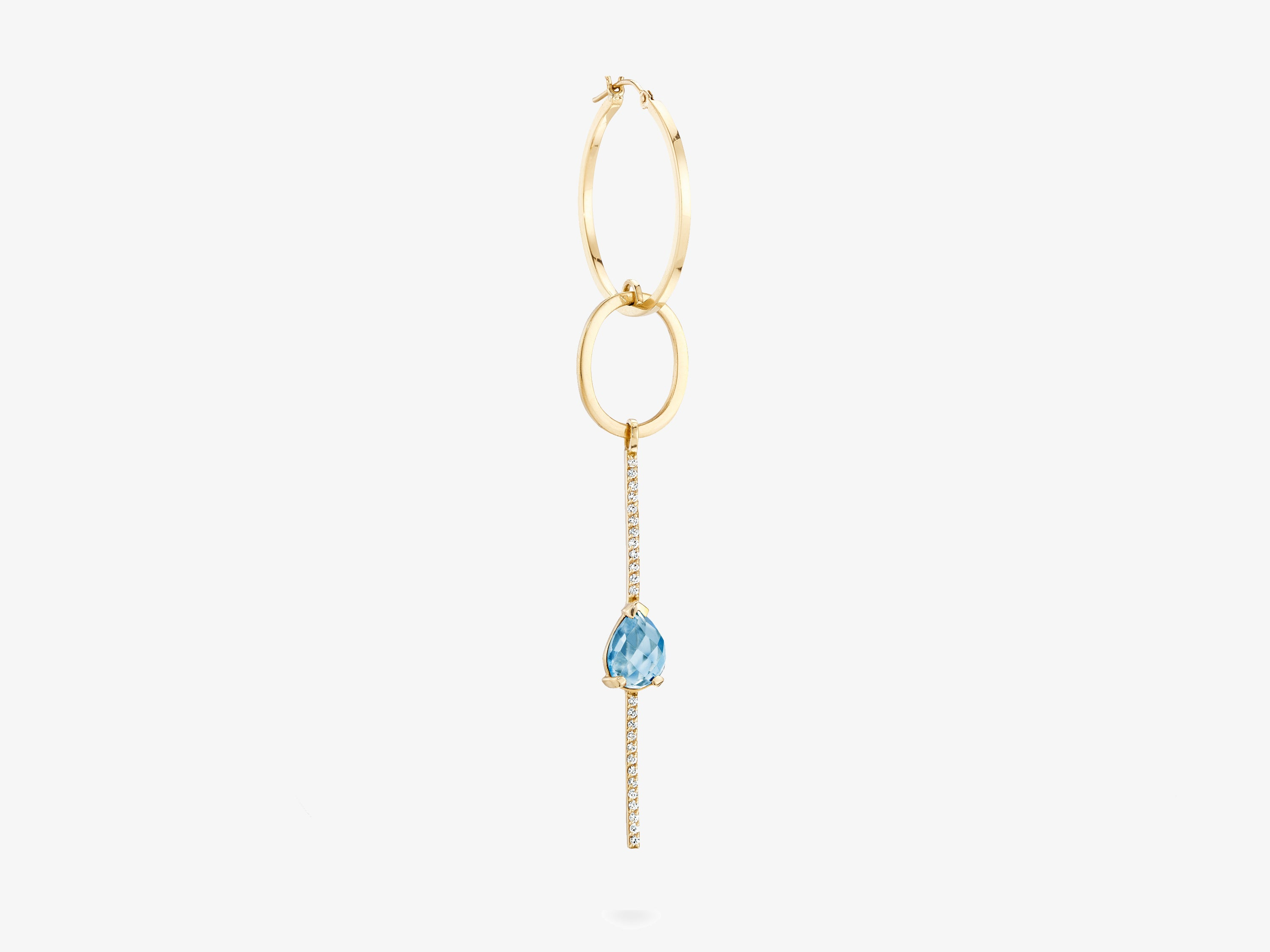 Single Statement Earring with Diamonds Pave Bar and Rose Cut Stone Details