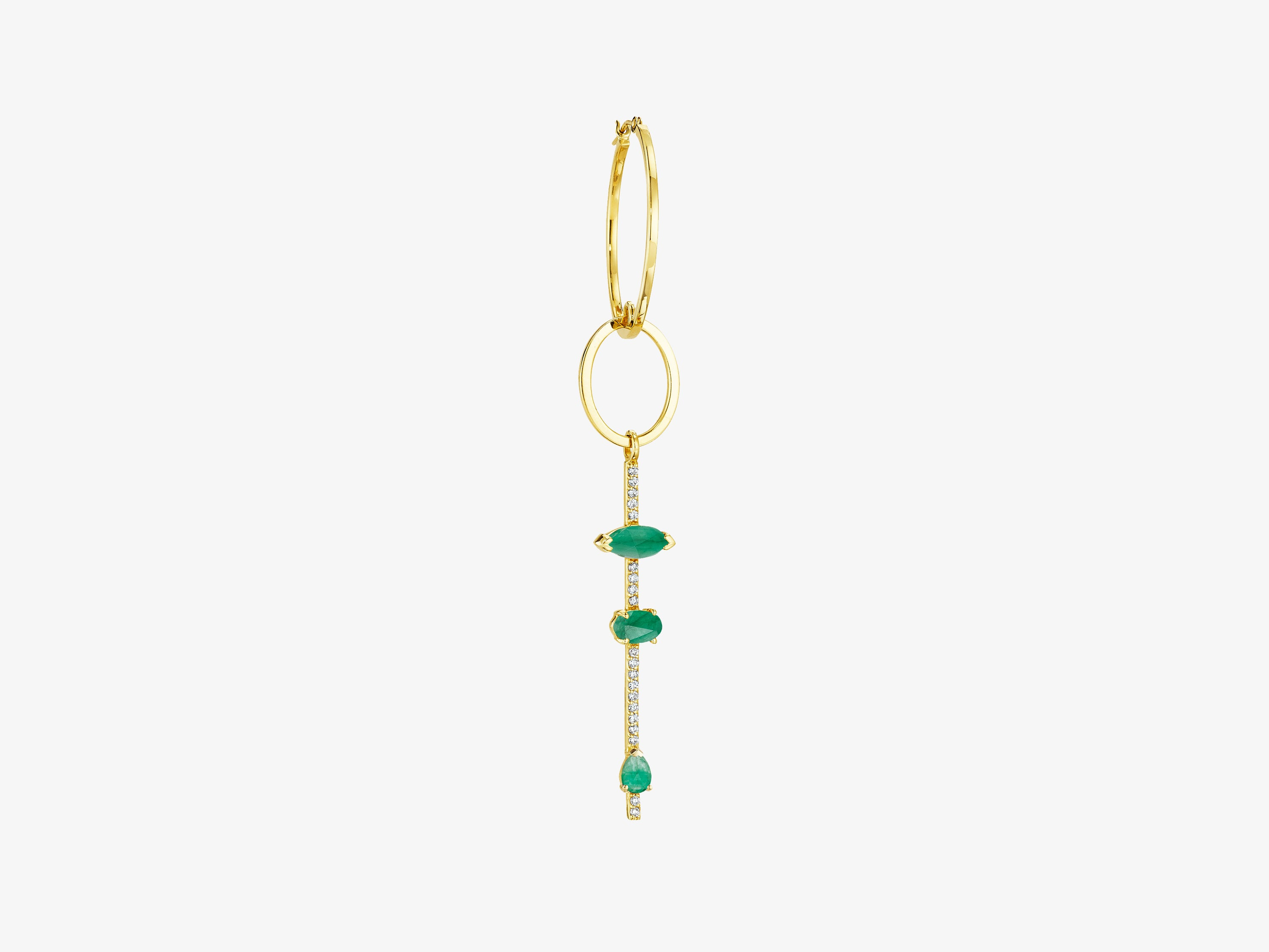 Single Statement Earring with Diamond Pave Bar and Gemstone Details