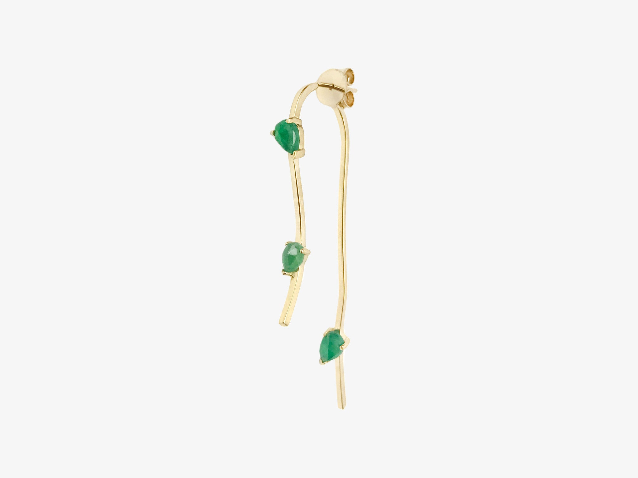 Small Sculptural Two Part Curved Earring with Rose Cut Stone Details