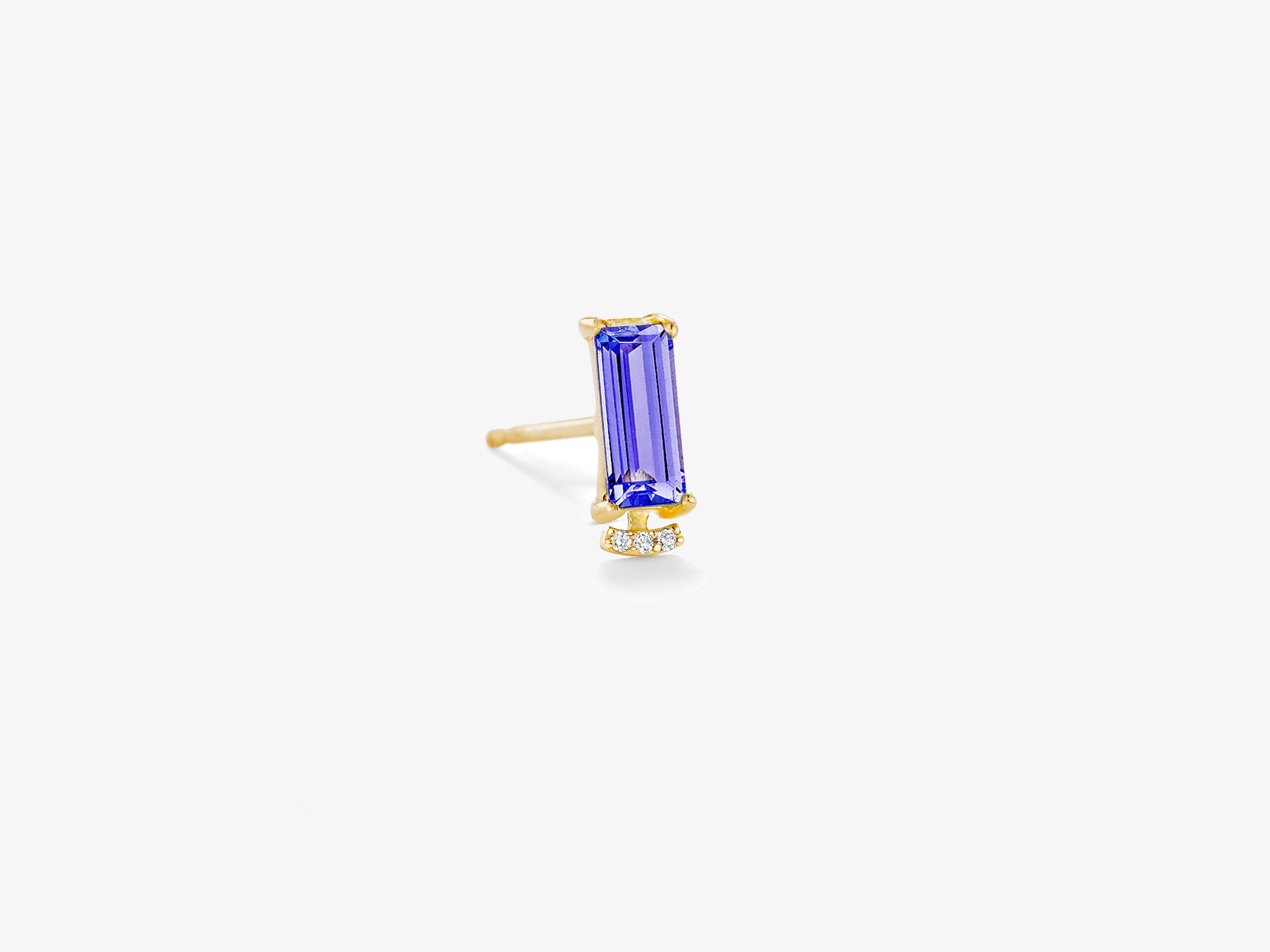 Small Single Baguette Gemstone Stud with Curved Diamond Pave Bar