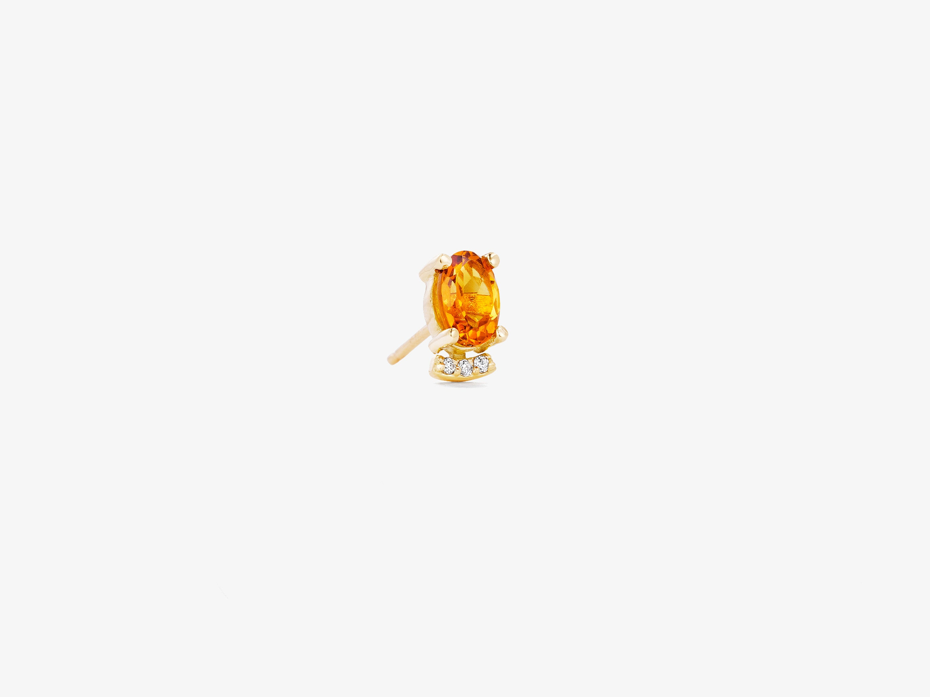 Small Single Oval Gemstone Stud with Curved Diamond Pave Bar