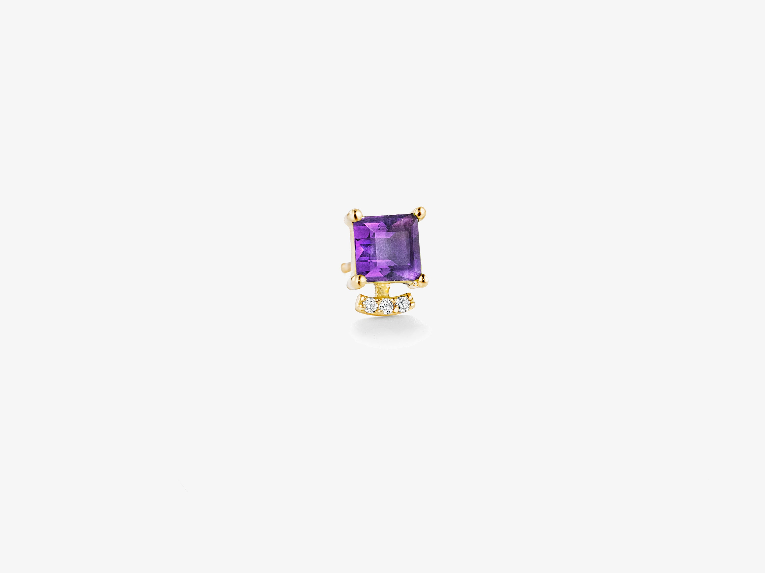 Small Single Square Gemstone Stud with Curved Diamond Pave Bar