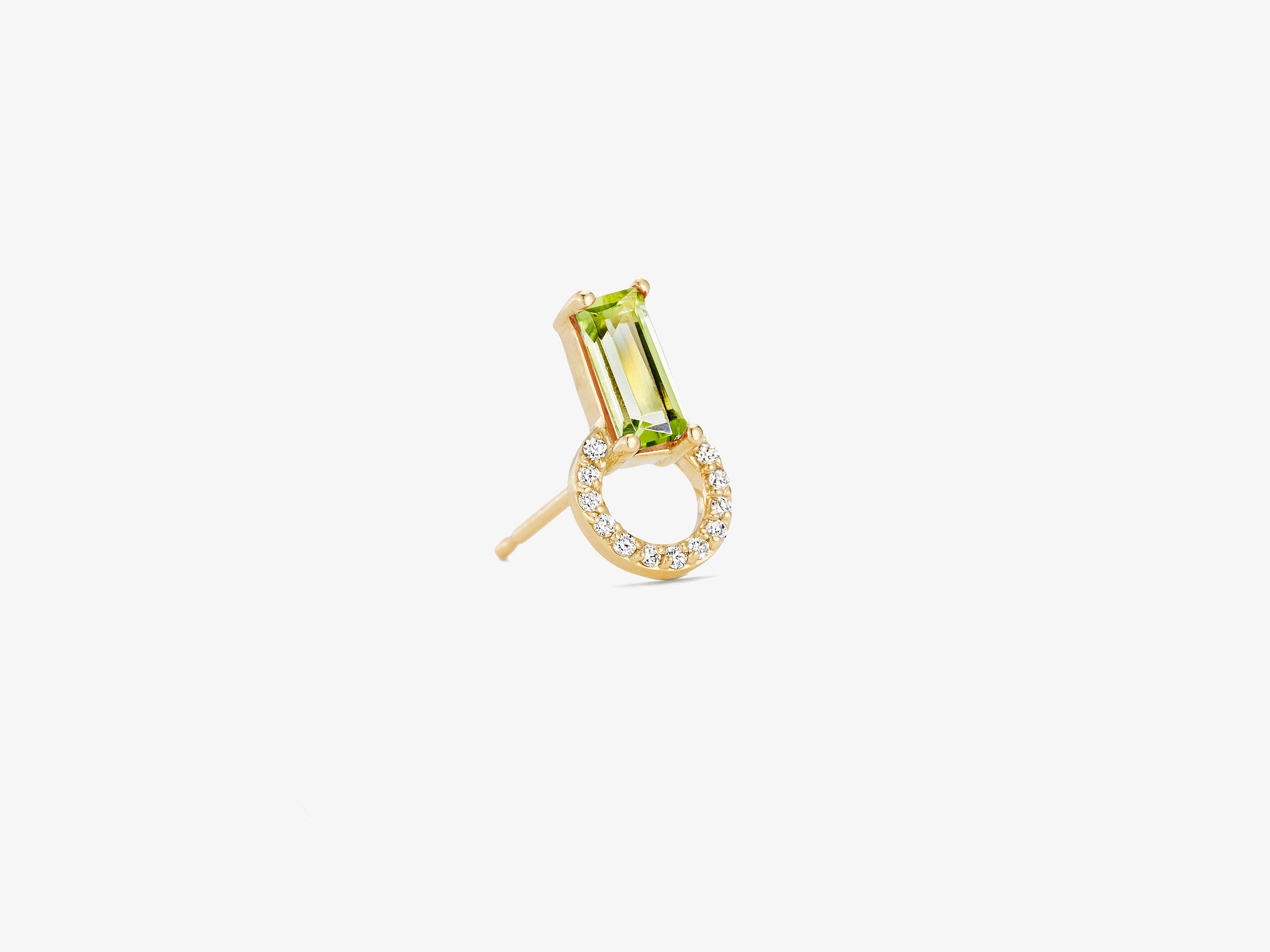 Diamonds Pave Circle Stud with with Baguette Gemstone