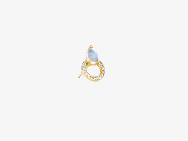 Diamonds Pave Circle Stud with Pear Shaped Gemstone Details