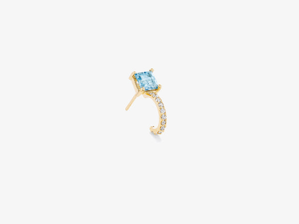 Diamond Single Pave Huggie Stud with Square Gemstone