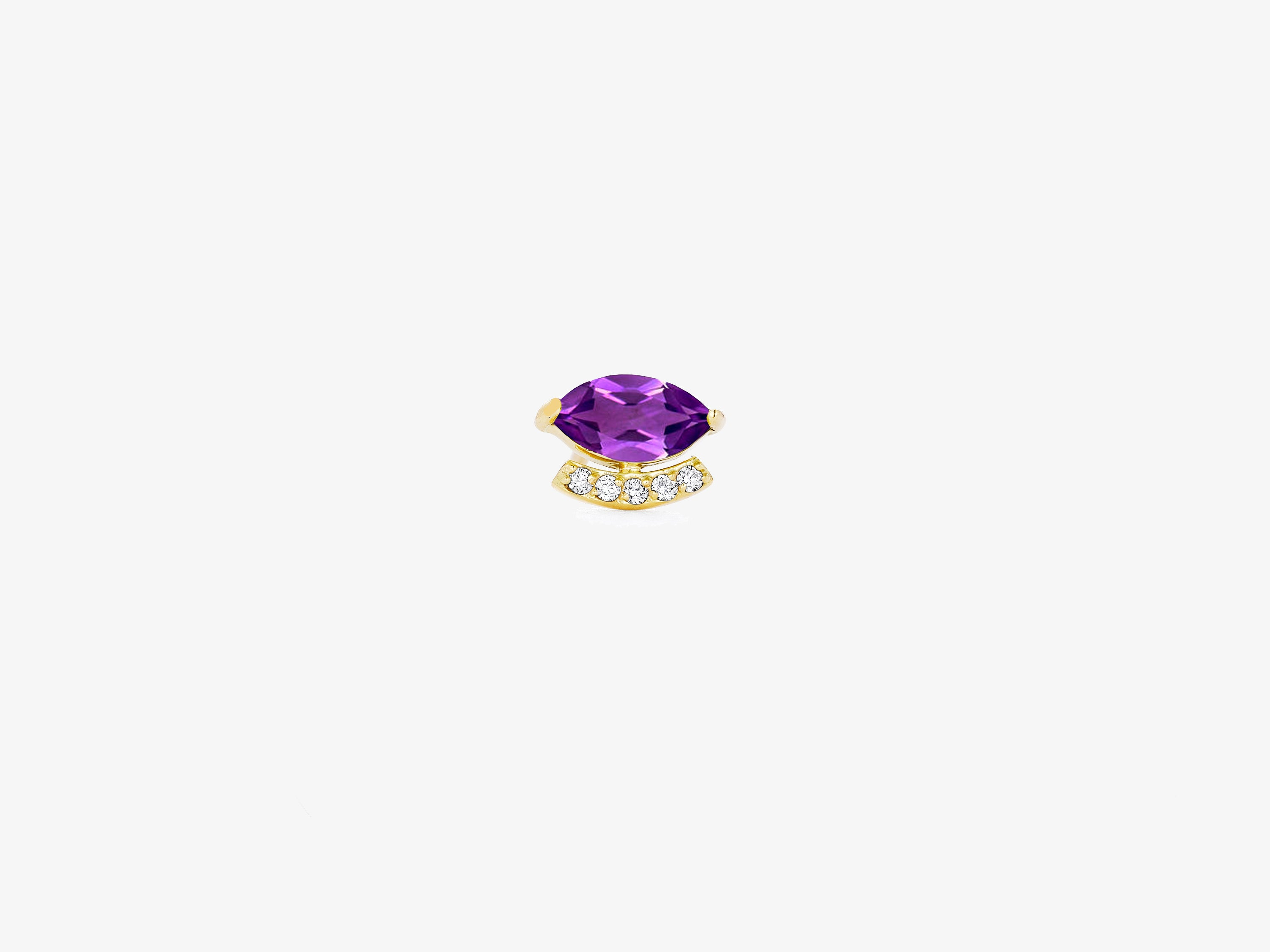 Small Single Marquise Gemstone Stud with Curved Diamond Pave Bar