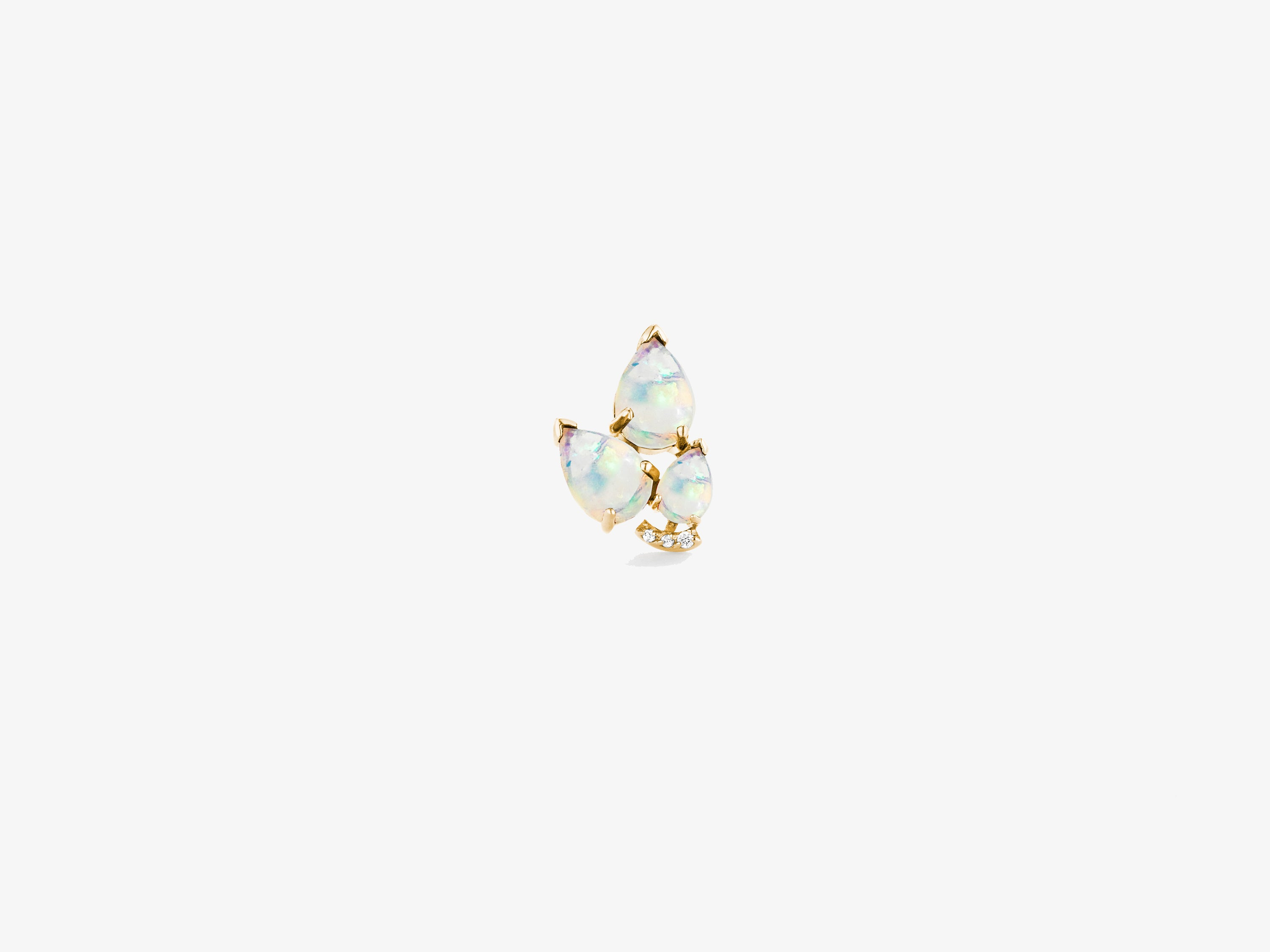 Small Pear Shaped Gemstone Cluster Stud with Curved Diamond Bar