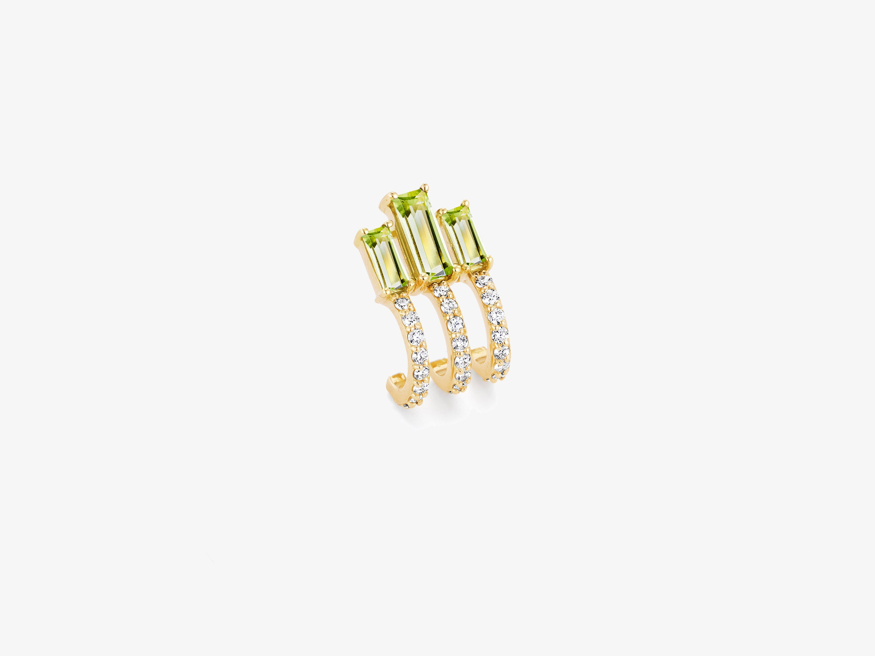 Diamond Pave Huggie Stud with Triple Baguette Gemstone Details