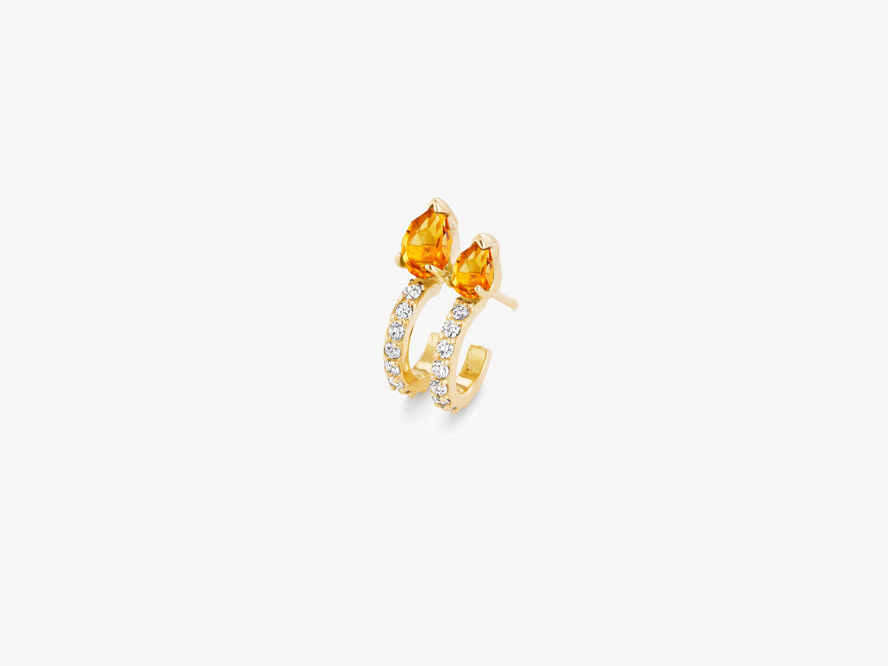 Diamond Pave Huggie Stud with Double Pear Shaped Gemstone Details