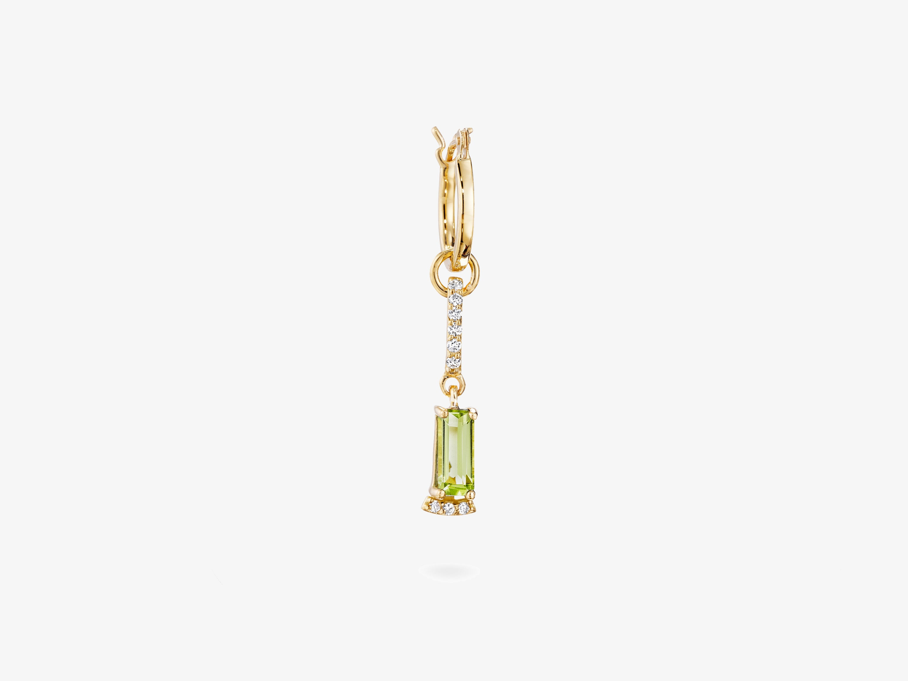 Small Modular Earring with Baguette Gemstone