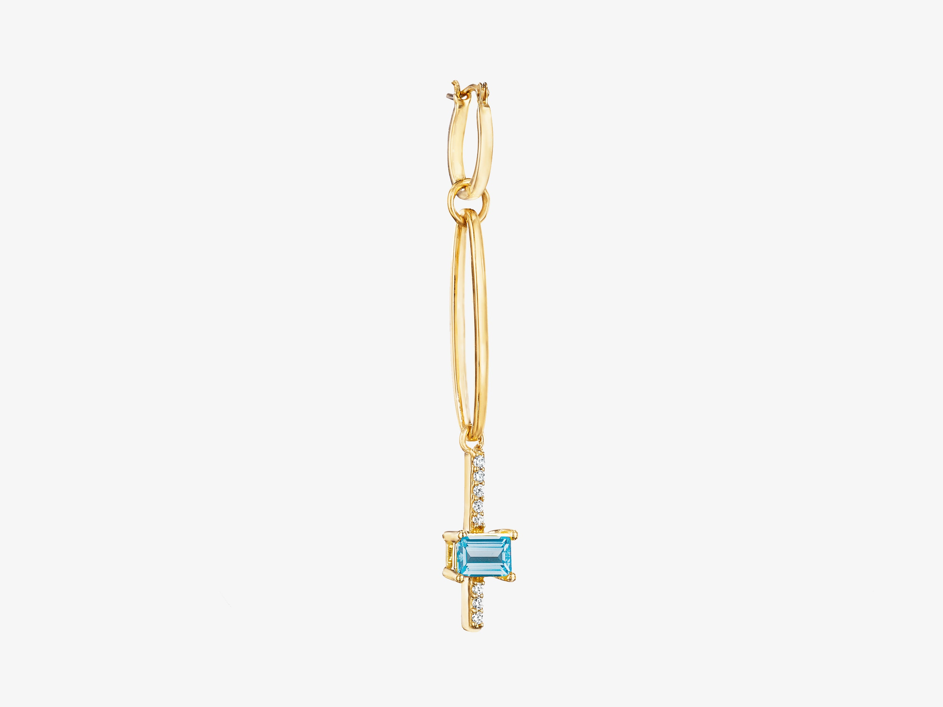 Large Modular Earring with Pave and Rectangular Stone Detail