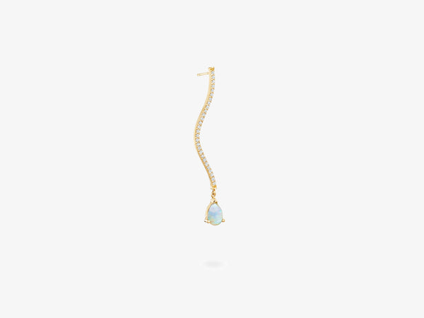 Diamond Pave Curved Bar Earring with Pear Shaped Gemstone