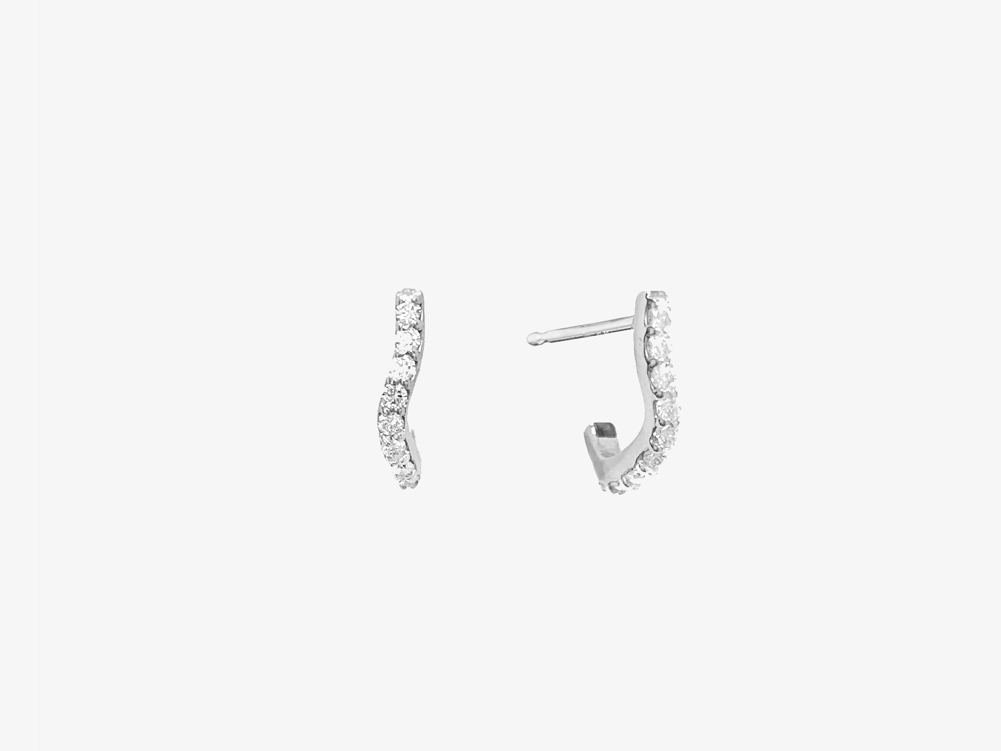 Small Curvy Huggie Earrings with Diamond Pave