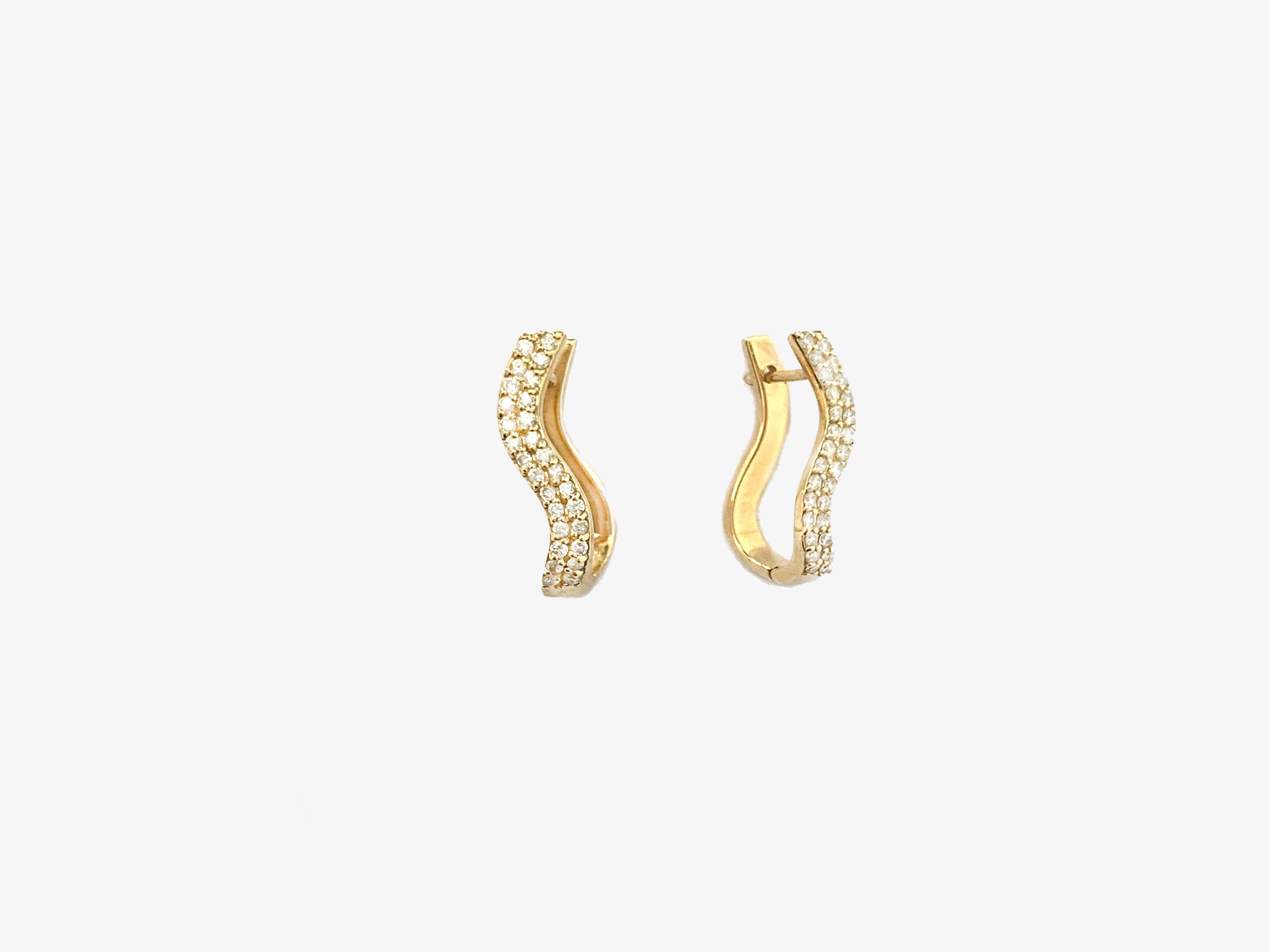 Infinity Curved Double Line Diamond Pave Hinged Earrings