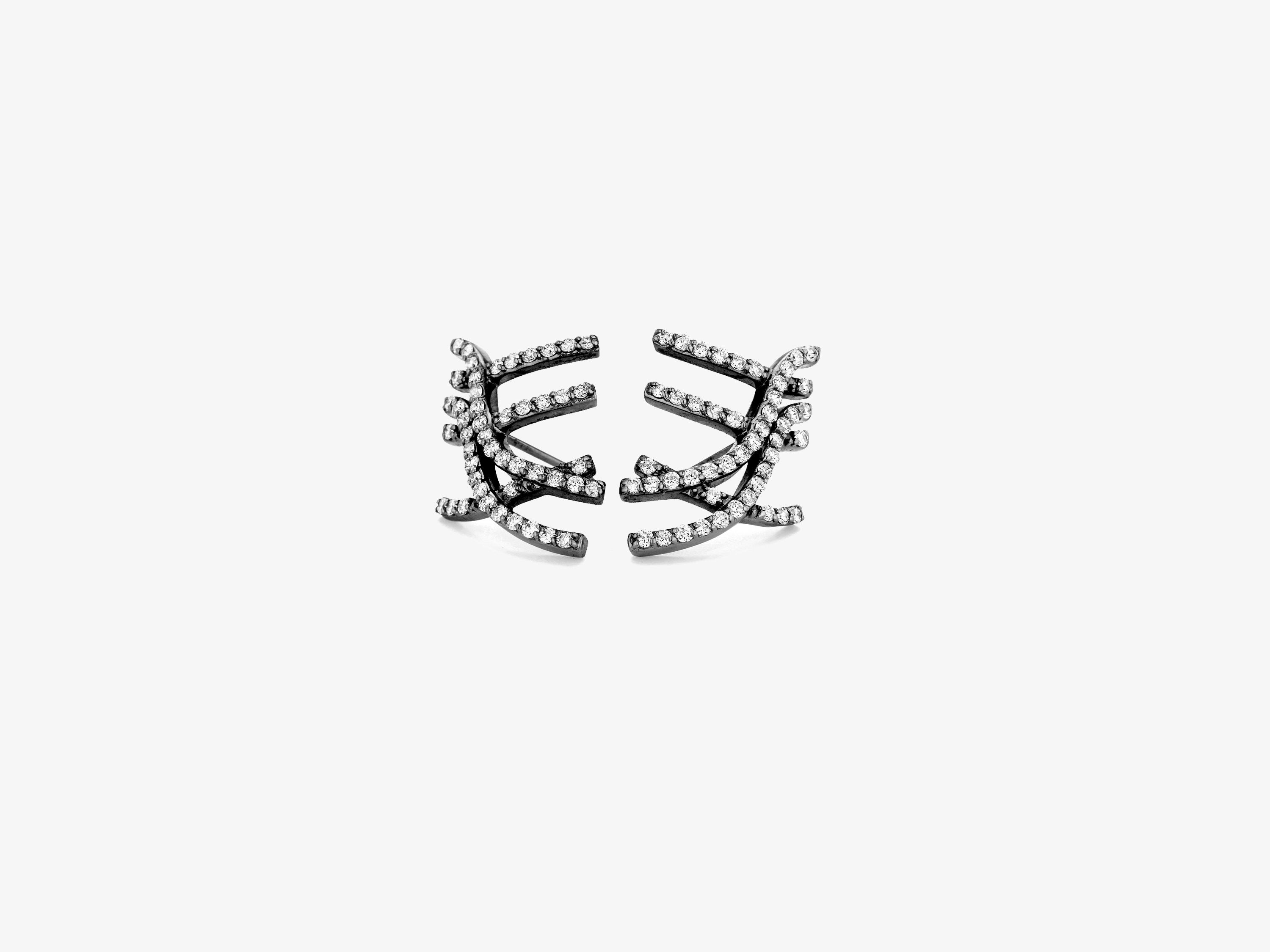 Diamond Pave Curved Line Earrings