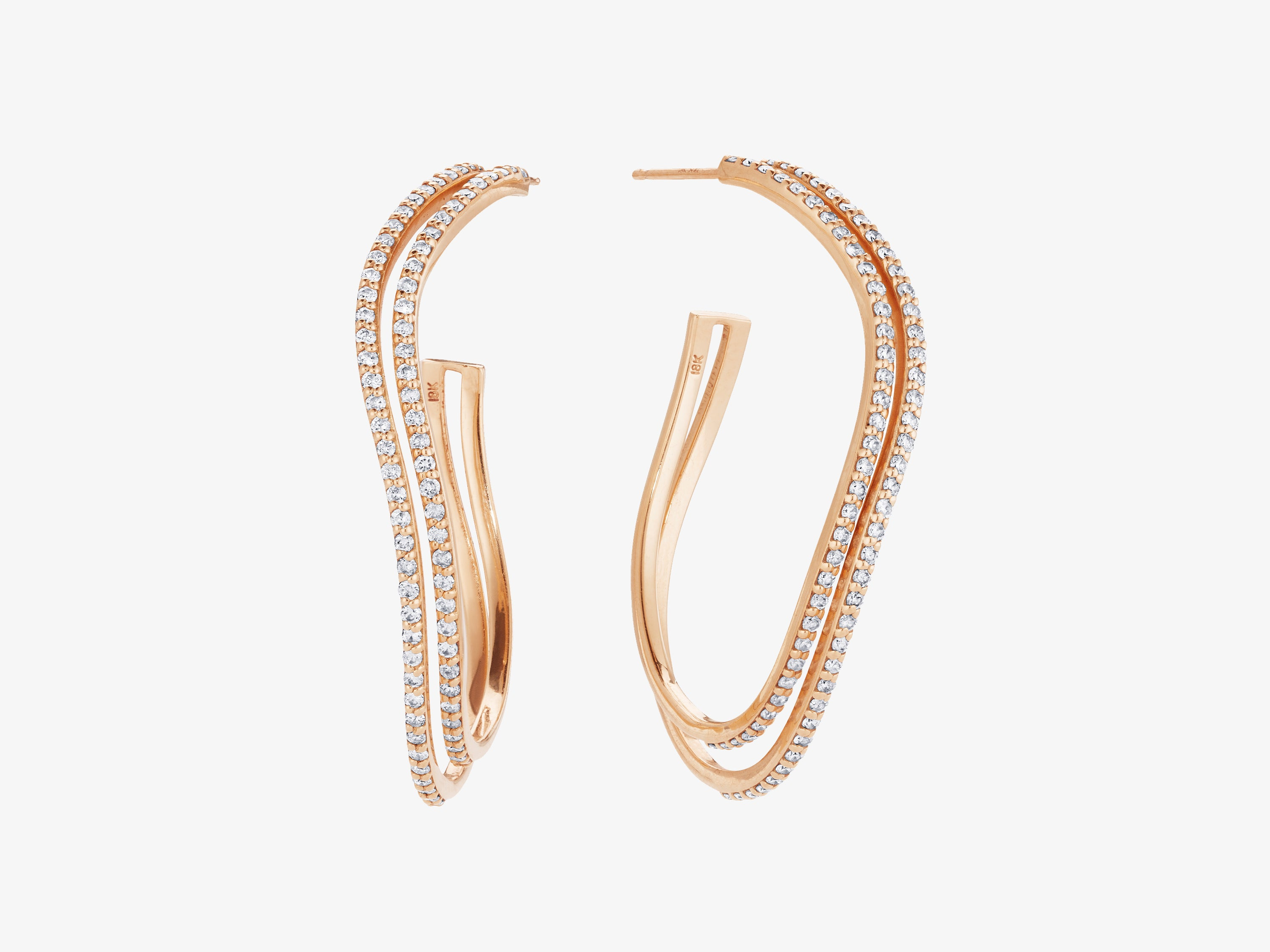 Large Two Row Hoop Earrings