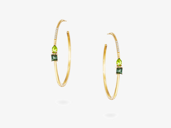 Large Open Hoop Earrings with Pear Shaped and Square Gemstone Details