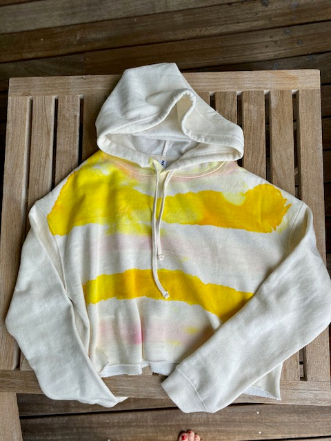 Yellow + Pink  Striped Joy Cropped Hoodie