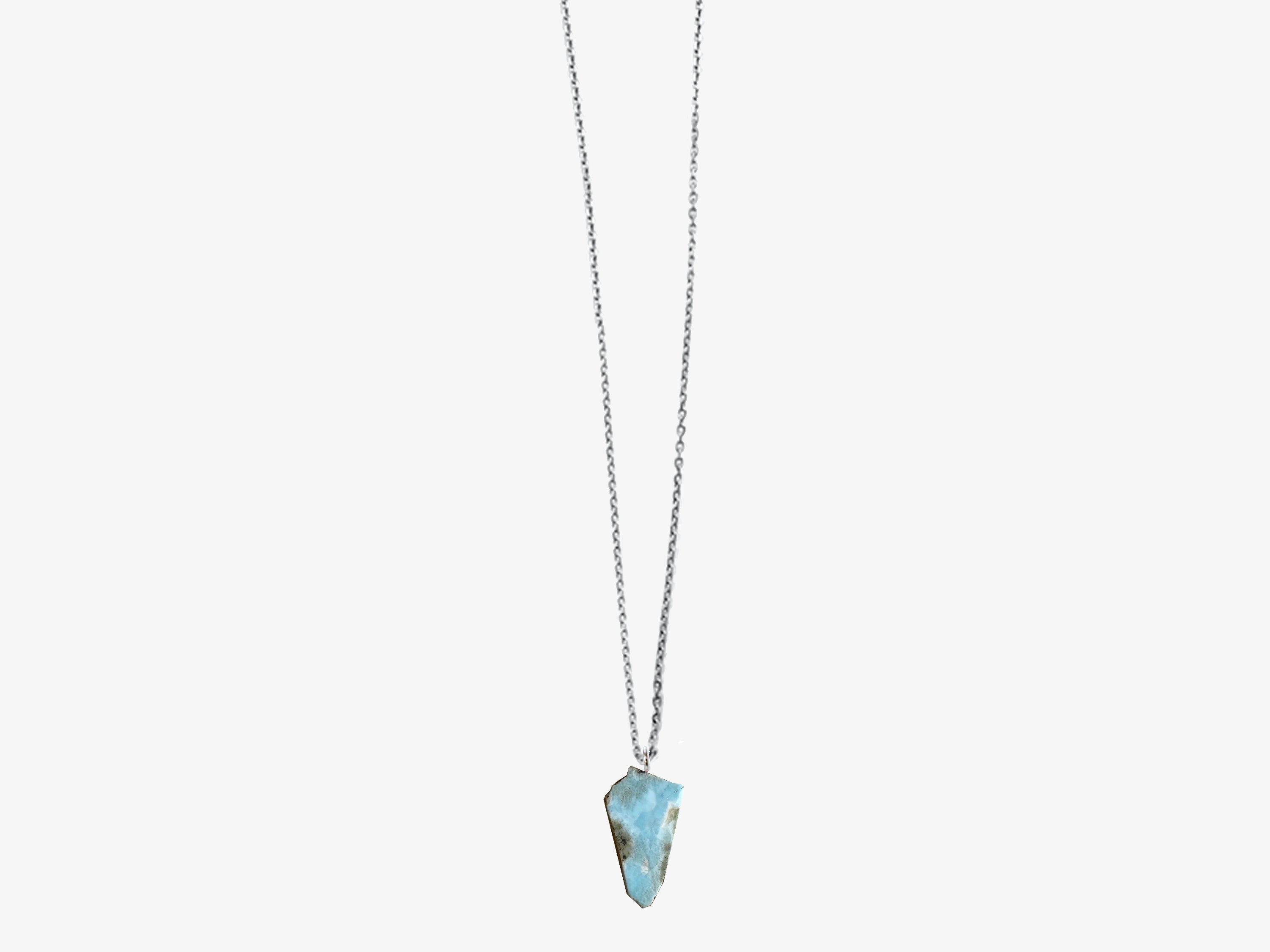 Larimar Aura Crystal Pendant Necklace